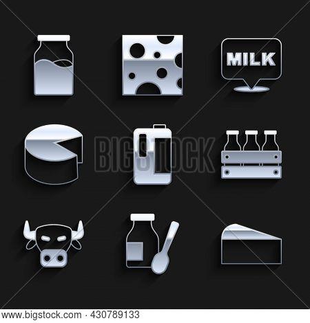 Set Milk In Plastic Bottle, Drinking Yogurt, Cheese, Bottled Milk Wooden Box, Cow Head, Lettering An