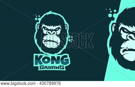 Angry Face King Kong Esport Logo Vector On Blue Background