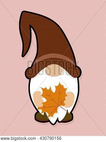 Adorable Gnome With Maple Leaf - Thanksgiving Gnome With Autumn Leaves. Nordic Magic Dwarf. Cute Hol