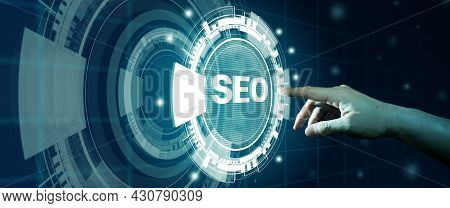 Seo Search Engine Optimization. Man Finger Touching Seo Hologram. Digital Online Marketing, Digital