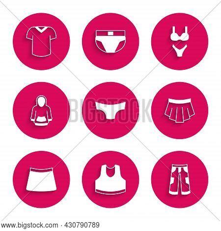 Set Men Underpants, Undershirt, Pants, Skirt, Hoodie, Swimsuit And T-shirt Icon. Vector