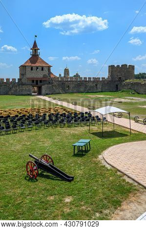 Tighina, Transnistria, Moldova - July 2021: Entrance of old medieval Turkish and Russian Bender fortress on the Dniester river
