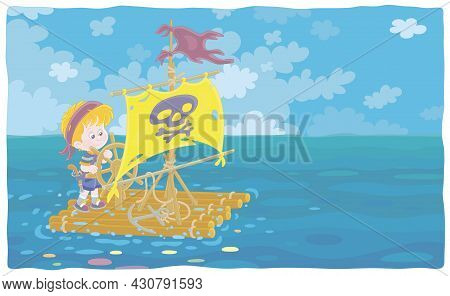 Happy Little Boy Playing Pirate On A Raft With A Sail With Jolly Roger And A Steering Wheel On An Ex