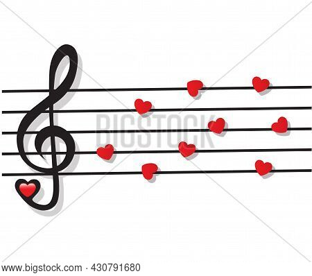 Stave With Heart Notes And Treble Clef On White Background