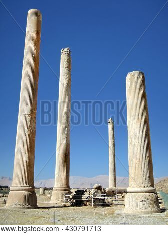 Remains Of Columns Of Great Palace Of Xerxes, Or Apadana, In Persepolis, Ancient Capital Of Persia,