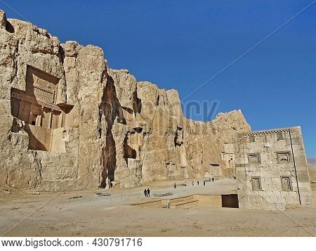 Panoramic View On Naqsh-e Rustam. Place Is Famous For Its Cross-formed Rock Tombs Of Persian Kings,