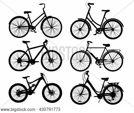 Vector Bicycle Silhouette Set Isolated On White Background. Collection Of Realistic Black Bike Silho