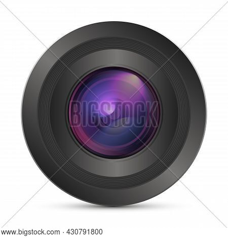 Camera Photo Lens. Realistic Colorful Camera Lens Isolated On White Background With Shadow. 3d Icon