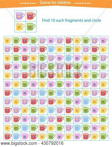 A Game For Children. Find The Fragments Of The Mugs Shown In The Sample. Development Of Attention, T