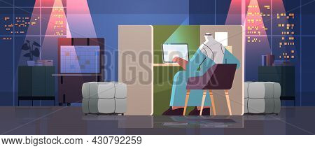 Overworked Arab Businessman Freelancer Working On Laptop Arabic Man Sitting At Workplace In Dark Nig