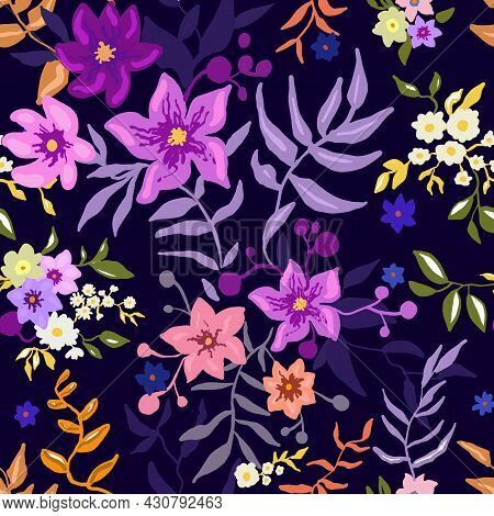 Tropical Floral Pattern. Colorful Graphic Floral Vector Seamless Pattern On A Blue Background. Styli