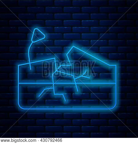 Glowing Neon Line Earthquake Icon Isolated On Brick Wall Background. Vector