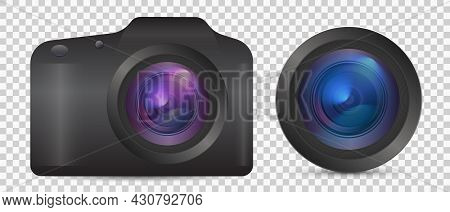Vector Photo Camera With Lens. Realistic Colorful Analog Photo Camera Isolated On Transparent Backgr