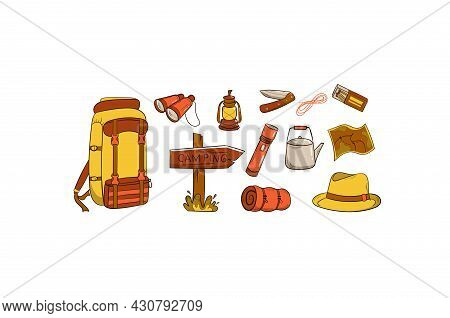 Camping And Travel Items Set. Hand Drawn Style. Items Are Arranged In A Circle. Hat, Canned Food, Sl