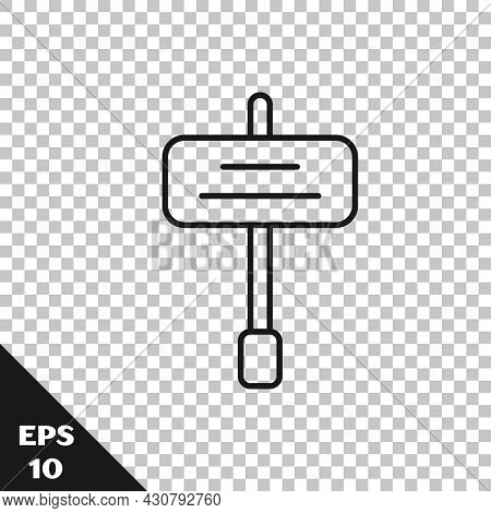 Black Line Road Traffic Sign. Signpost Icon Isolated On Transparent Background. Pointer Symbol. Isol