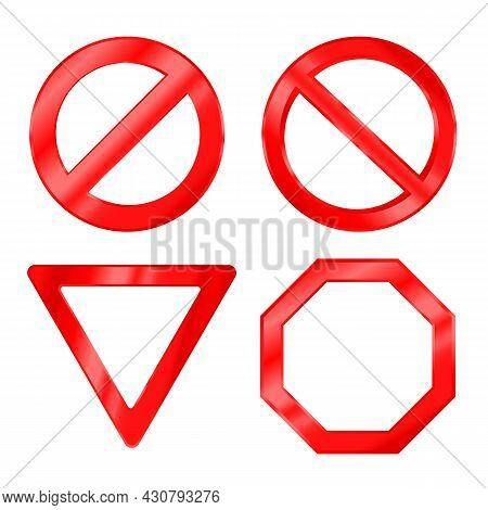 Collection Of Red Warning Signs Isolated On White Background. Modern Glossy Road Traffic Signs With