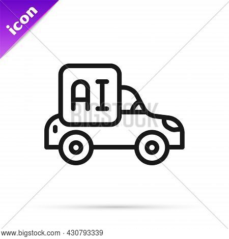 Black Line Autonomous Artificial Intelligence Smart Car Icon Isolated On White Background. Vector