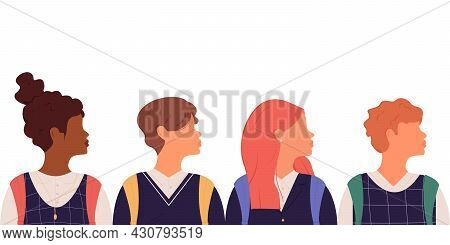 Group Of Students Of Different Nationalities In School Uniforms Are Turned Sideways From Each Other.