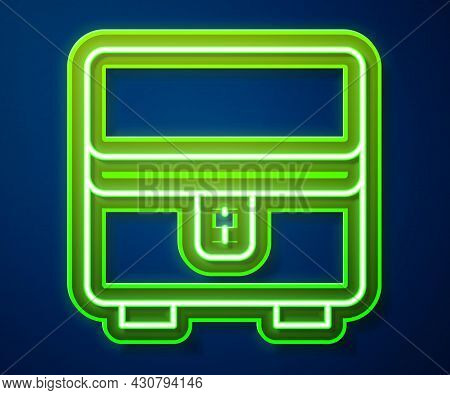 Glowing Neon Line Jewelry Box Icon Isolated On Blue Background. Casket With Jewelry. Vector
