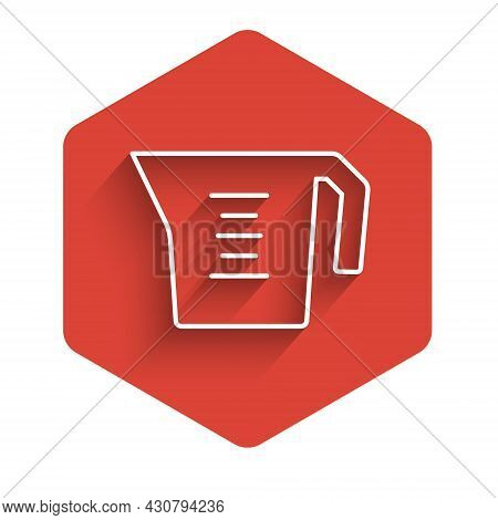 White Line Measuring Cup To Measure Dry And Liquid Food Icon Isolated With Long Shadow Background. P