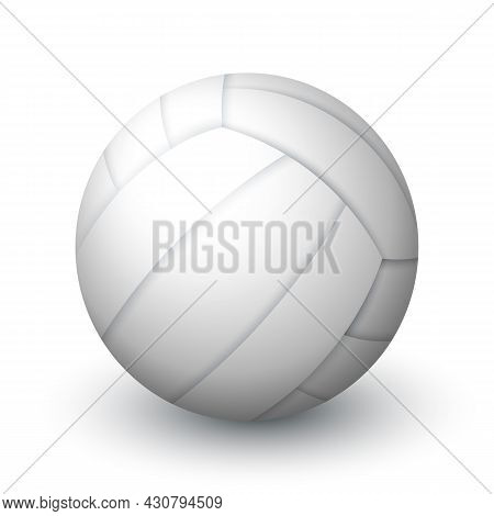 Realistic White Volleyball Ball Isolated On White Background. Sports Equipment For Team Game. Leathe