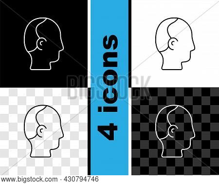 Set Line Baldness Icon Isolated On Black And White, Transparent Background. Alopecia. Vector