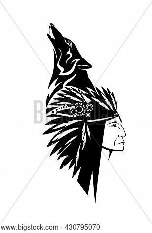 Native American Tribal Chief Wearing Feathered Headdress Nad Howling Wolf Head - Black And White Vec