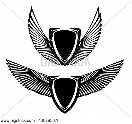 Metal Shield And Stylized Feathered Wings Spread Wide - Black And White Vector Security Concept Hera