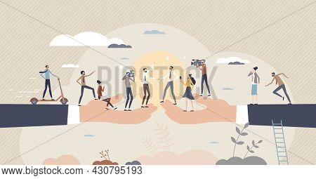 Cooperative Agreement And Business Deal With Media Attention Tiny Person Concept. Large Project Sign