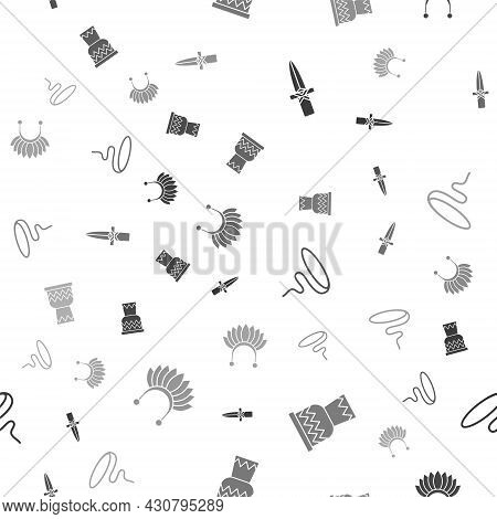 Set Dagger, Drum, Lasso And Indian Headdress With Feathers On Seamless Pattern. Vector