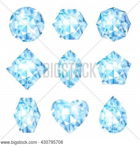 Realistic 3d Diamonds Set  Isolated On White Background. Jewels Or Brilliants Collection. Glossy Gla