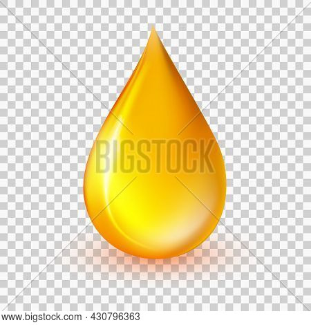 Oil Drop Vector Illustration. Realistic Yellow Liquid Droplet Isolated On Transparent Background. Go