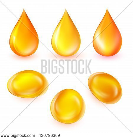 Oil Drops Vector Set. Realistic 3d Liquid Droplets And Bubbles Isolated On White Background. Golden