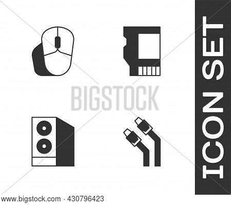 Set Lan Cable Network Internet, Computer Mouse, Case Of Computer And Sd Card Icon. Vector