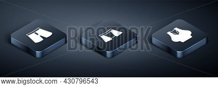 Set Isometric Short Or Pants, Undershirt And Men Underpants Icon. Vector