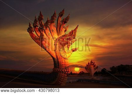The Colorful Naga Statue Many Heads With Sun Set Or Sun Rise Multi Color Sky Abstract Background