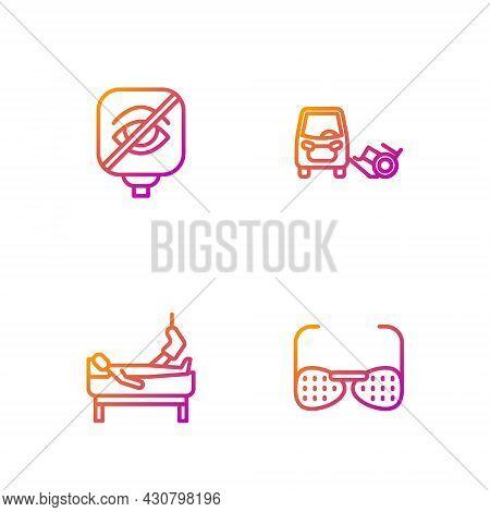 Set Line Blind Glasses, Patient With Broken Leg, Blindness And Disabled Car. Gradient Color Icons. V