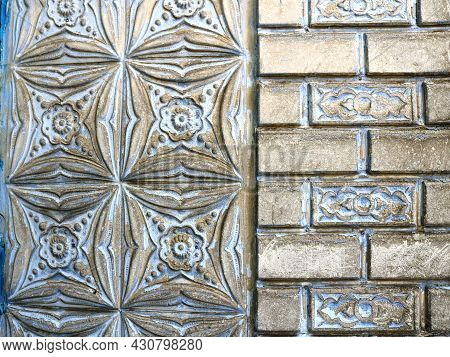 A Fragment Of A Part Of A Building Made Of Combined Parts Of Masonry Painted With Silver Paint, The