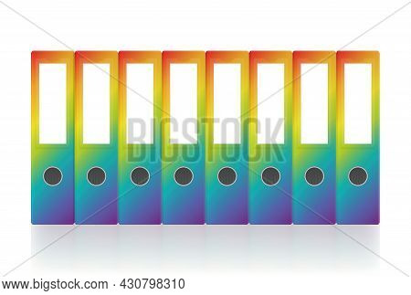Rainbow Gradient Colored Ring Binders, Eight Colorful Unlabeled Leaf Binder Map Set. Isolated Vector