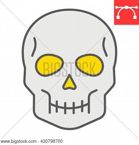 Skull Color Line Icon, Holiday And Halloween, Human Skull Vector Icon, Vector Graphics, Editable Str