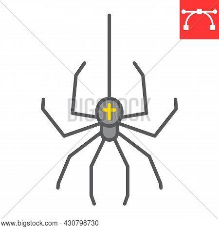 Spider Color Line Icon, Arachnid And Halloween, Spider Vector Icon, Vector Graphics, Editable Stroke
