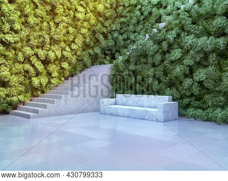 Art space with vertical garden concrete sofa and stairs, minimalistic style, 3D illustration, rendering.