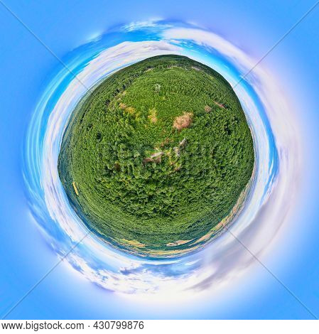 Spherical 360 Degrees Panorama Of Summer Landscape With Fields And Green Grass. Little Planet Panora