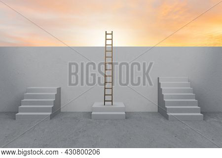 Concept of career ladders - 3d rendering