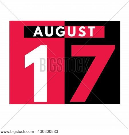 August 17 . Modern Daily Calendar Icon .date ,day, Month .calendar For The Month Of August