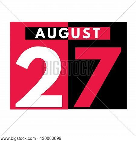 August 27 . Modern Daily Calendar Icon .date ,day, Month .calendar For The Month Of August