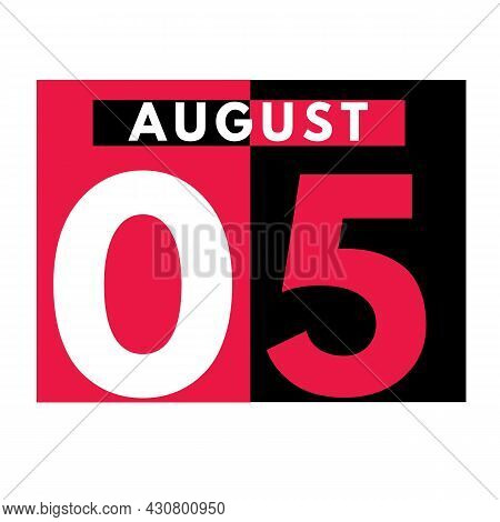 August 5 . Modern Daily Calendar Icon .date ,day, Month .calendar For The Month Of August