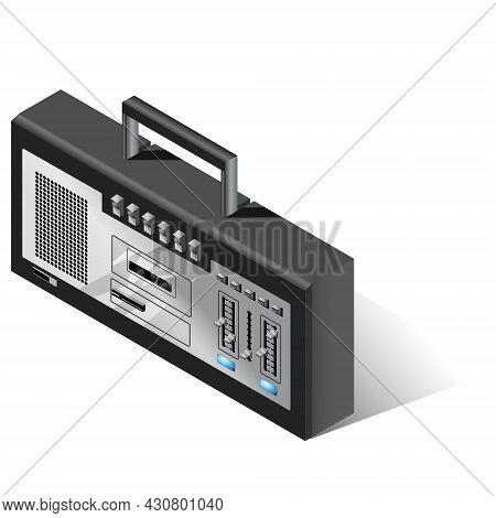 Retro Music Stereo Player. Musical Tape Recorder For Cassettes. Vector Isometric Illustration