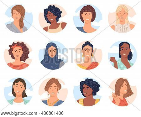 Various Women Avatar Collection Of Diverse Business Team Flat Design Vector Collection. Bundle Of Jo