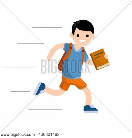 Boy Run With Book. Student Goes To School. Student With Backpack Is Late For School. Guy In Summer C